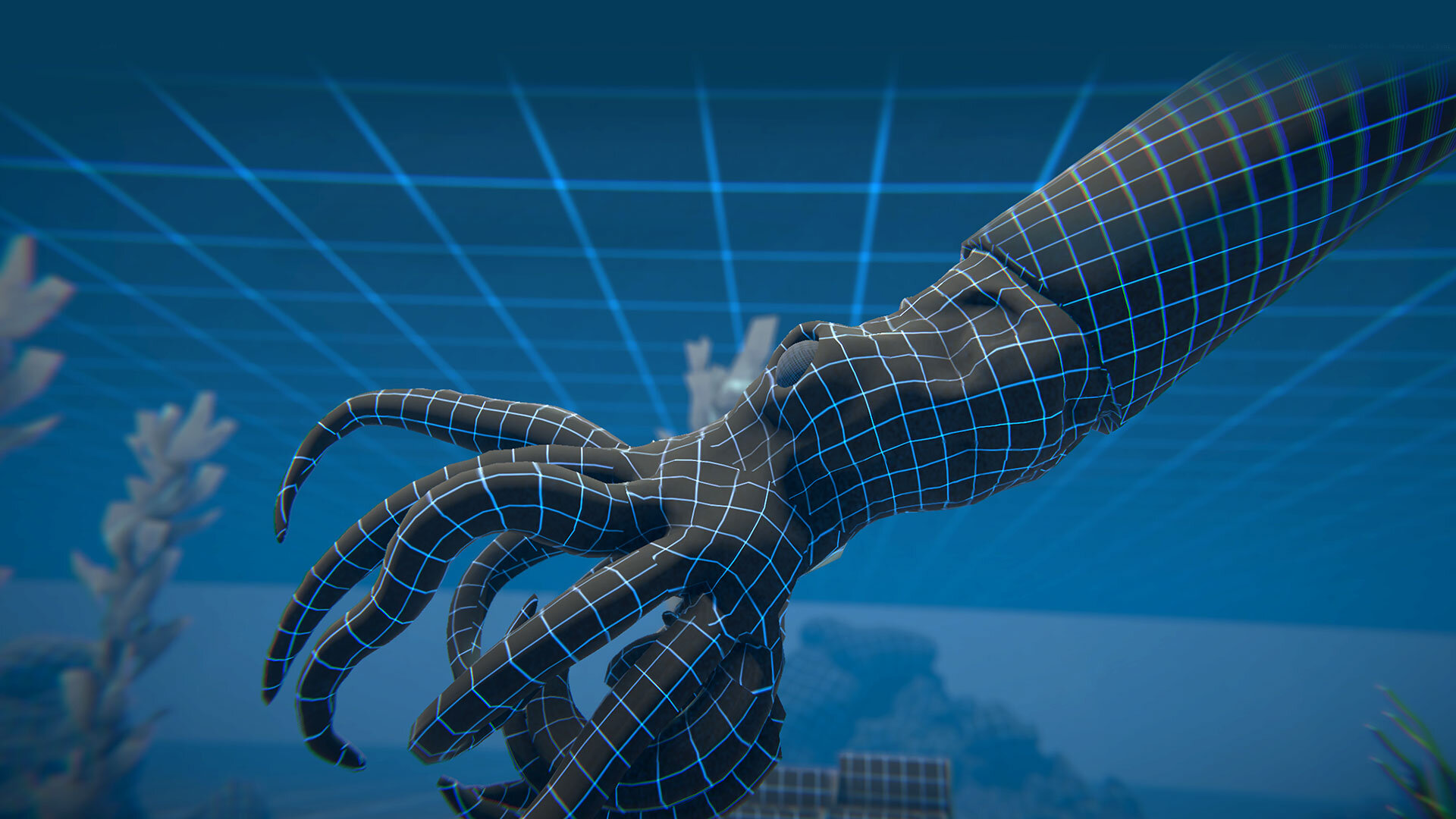 Wireframe of a 3D animation