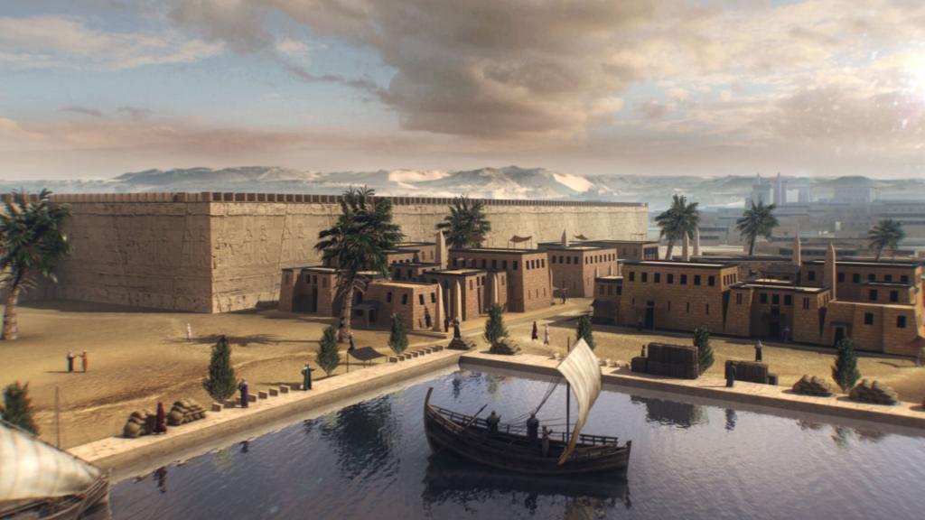 3D animation of an Egyptian port