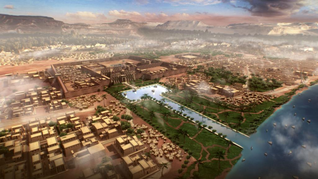 3D animation of a fly-over of Thebes