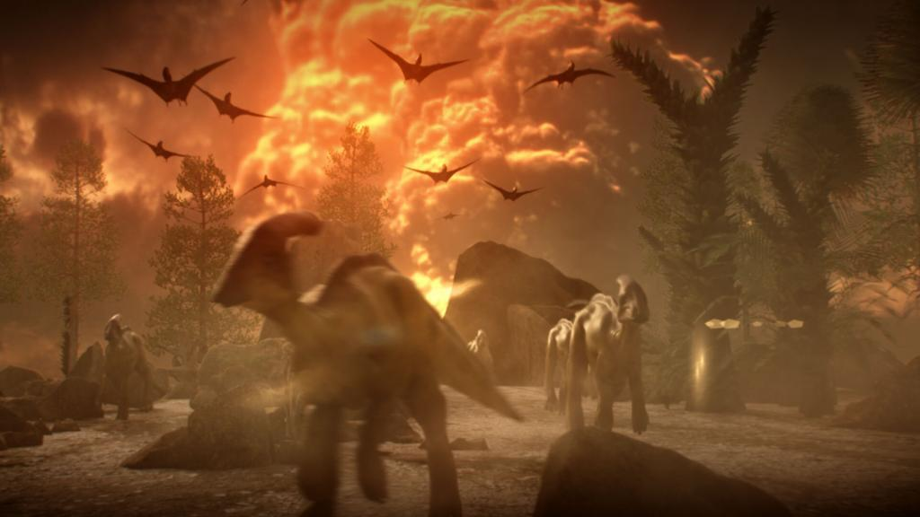 Dinosaurs in the midst of a CGI explosion