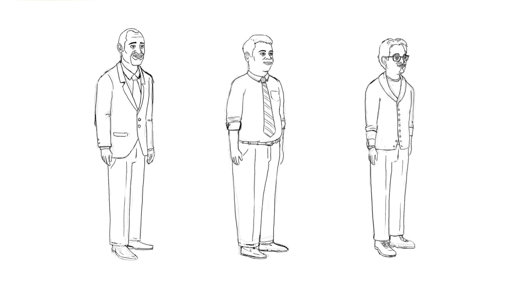 initial sketches of characters for the newpoint training videos