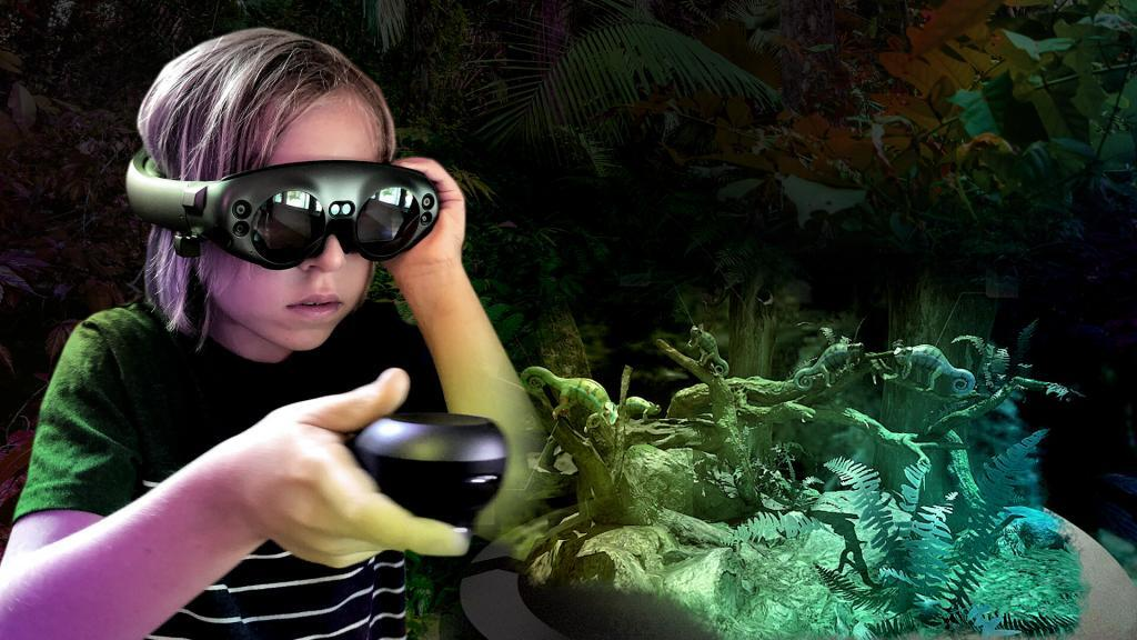 child using the magic leap for the battle for reptopia experience