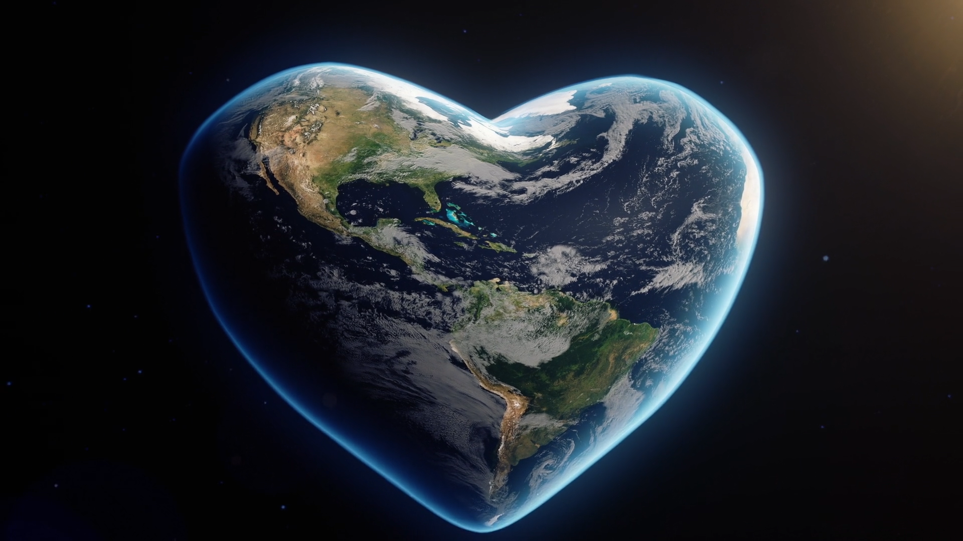 3d heart shaped earth